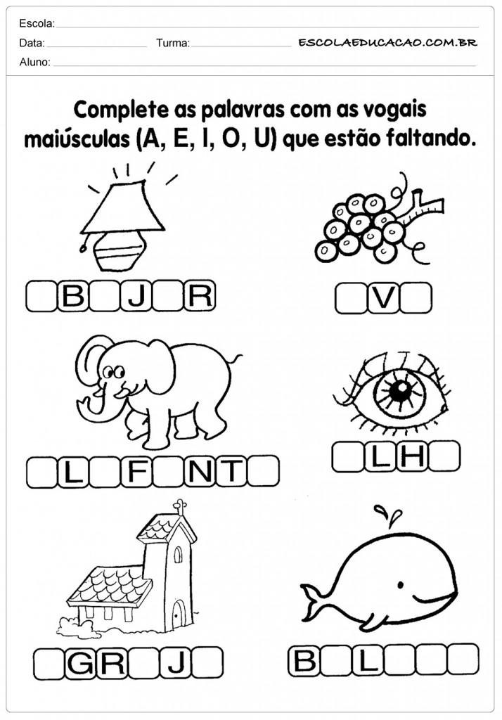 Complete as Vogais