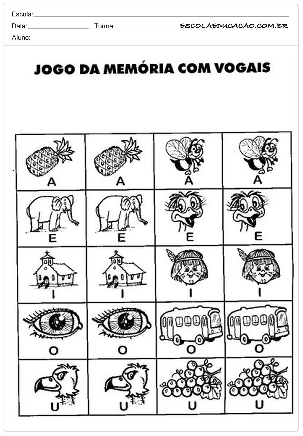 Atividades Com Vogais Jogo Da Memoria Escola Educacao