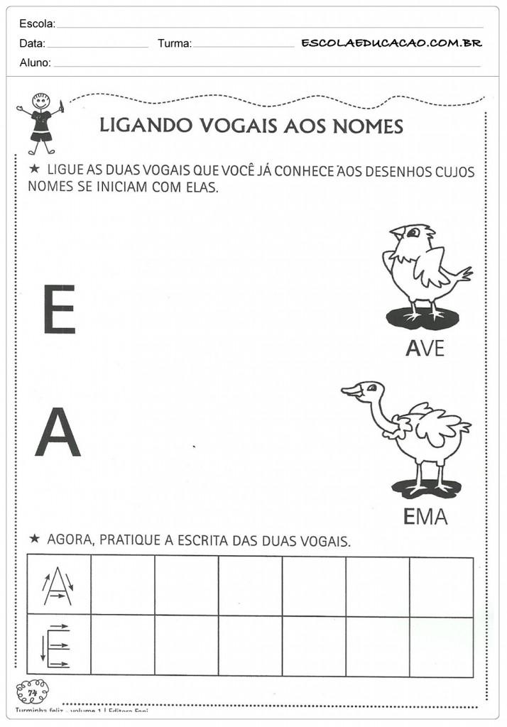 Atividades com Vogais - Lingando Vogais ao Nome