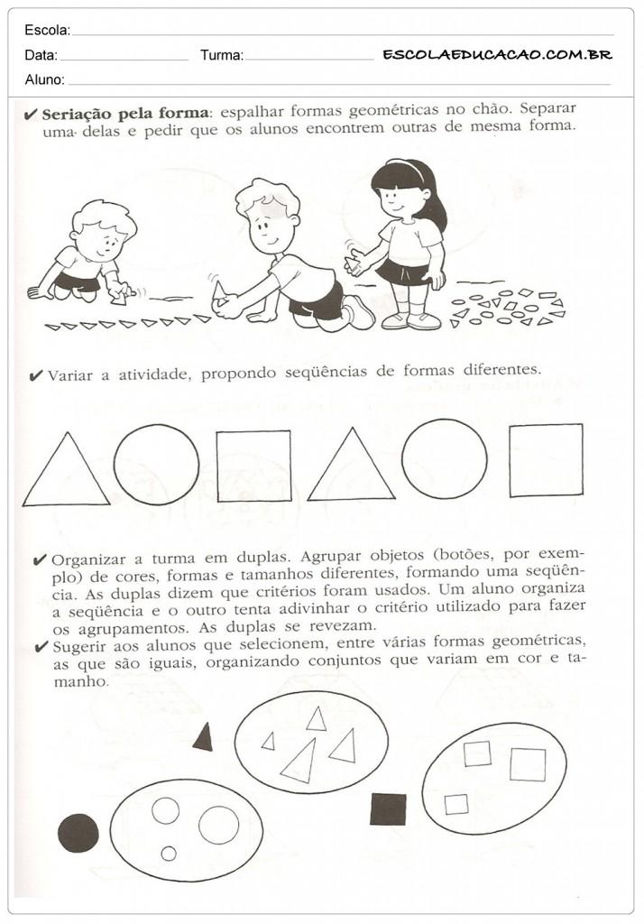 Atividades de Classificação e Seriação - Formas