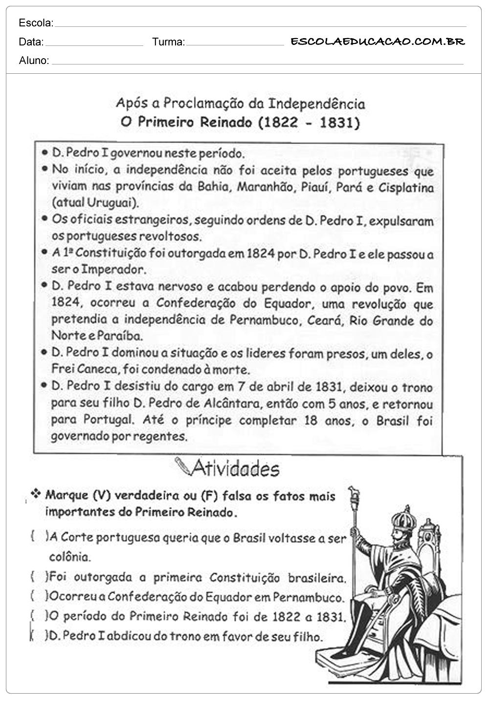 atividades-de-historia-5-ano-o-primeiro-reinado - Escola