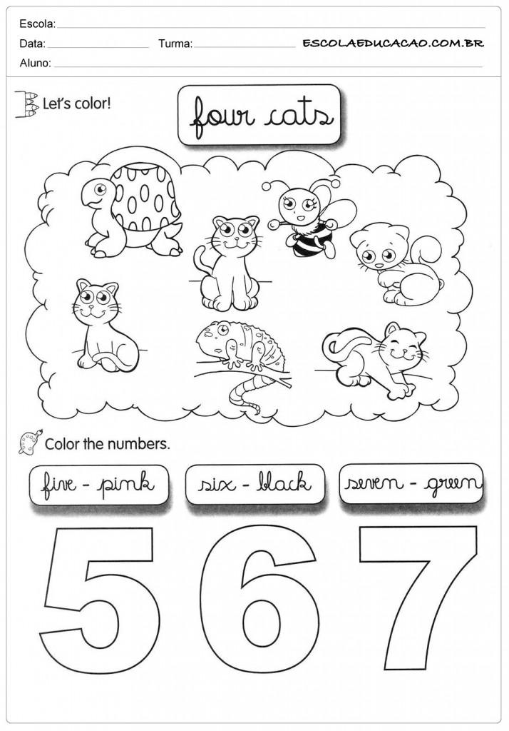 Atividades de Inglês 1º ano - Colorir