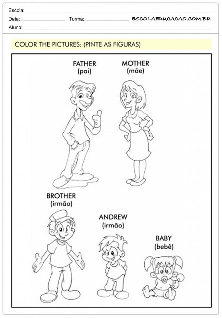 Atividades de Inglês 1º ano - Família