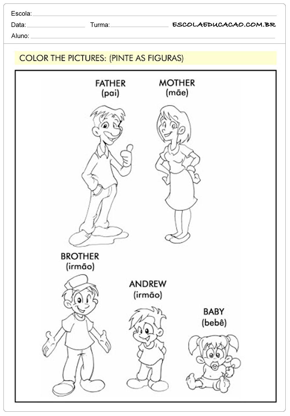 Atividades de Inglês 1º ano – Família