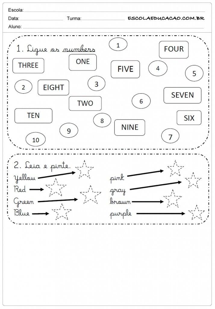 Fabuloso Atividades de Inglês 1º ano - Para Imprimir - Educação OC91