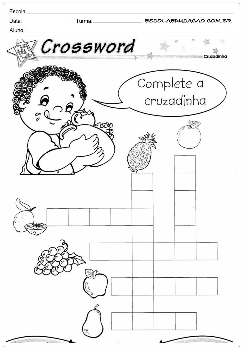 Atividades de Inglês 2º ano – Complete a Cruzadinha