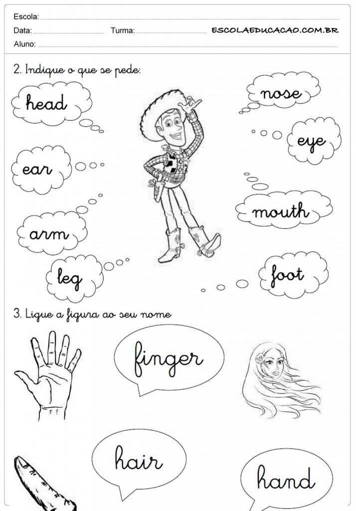 Atividades de Inglês 2º ano - Partes do Corpo