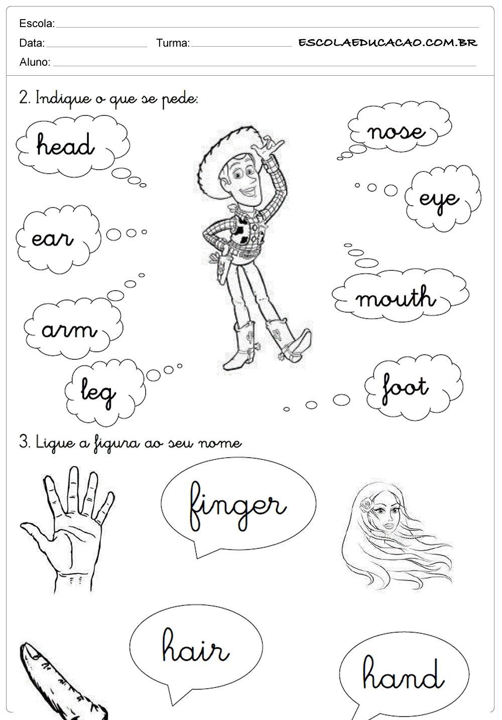 Atividades de Inglês 2º ano – Partes do Corpo