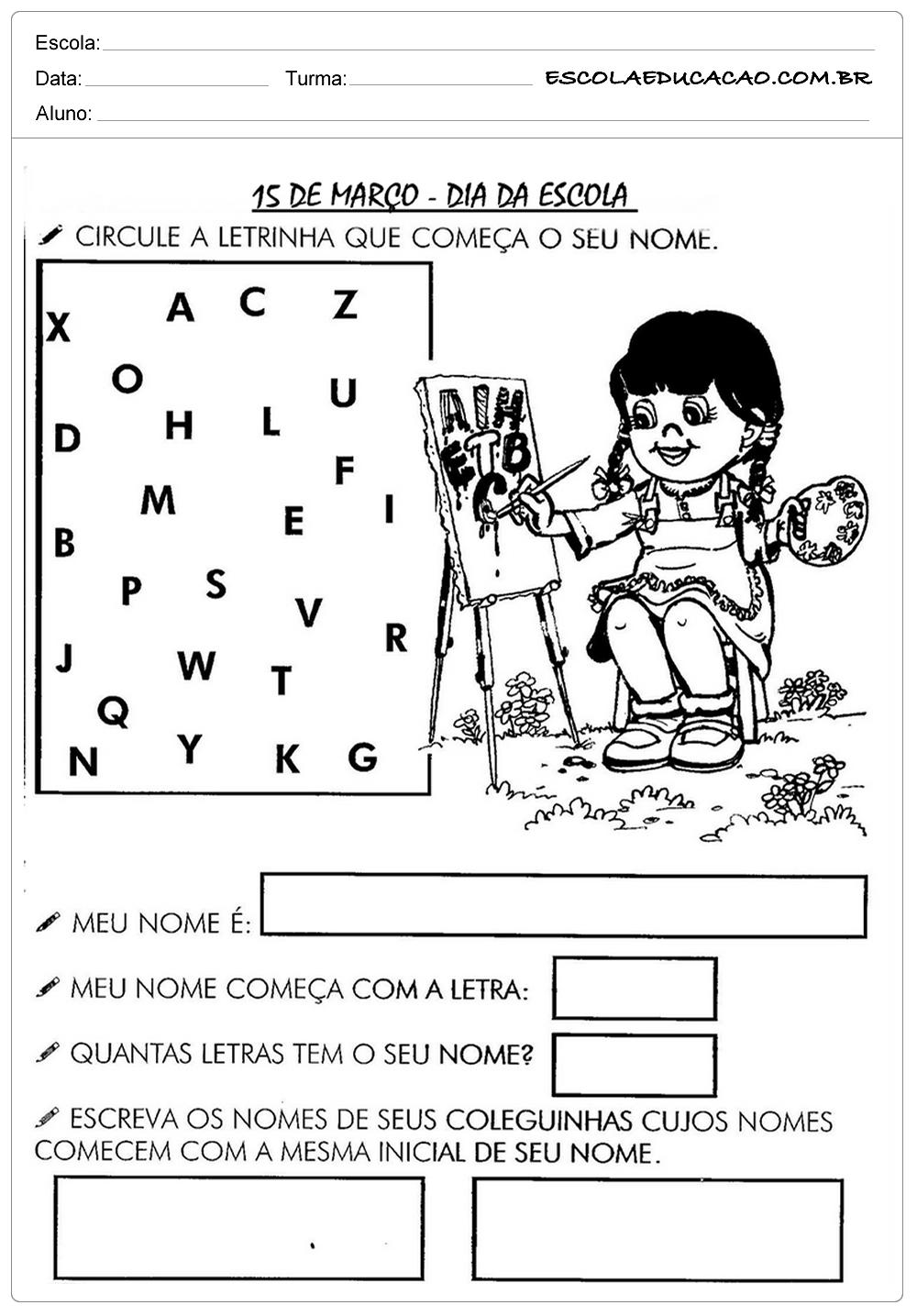 Atividades Dia da Escola – Circule a Letra