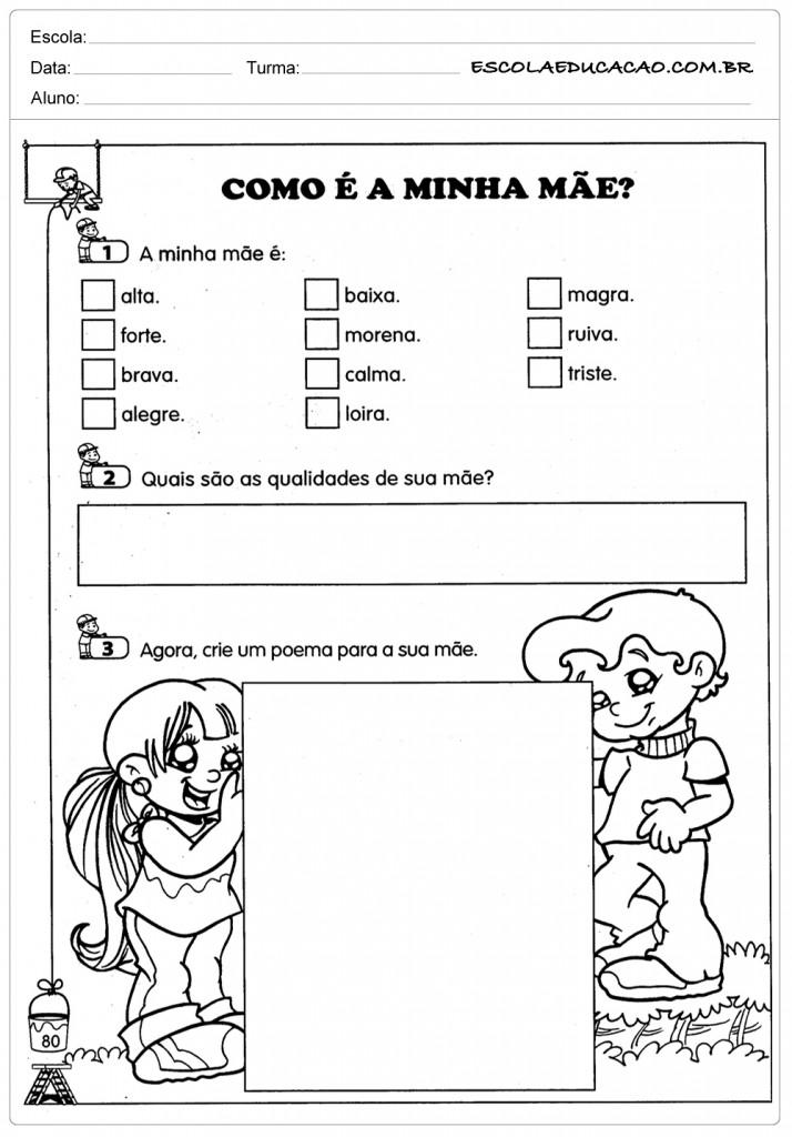 Atividades Para O Dia Das Maes Para Imprimir Educacao