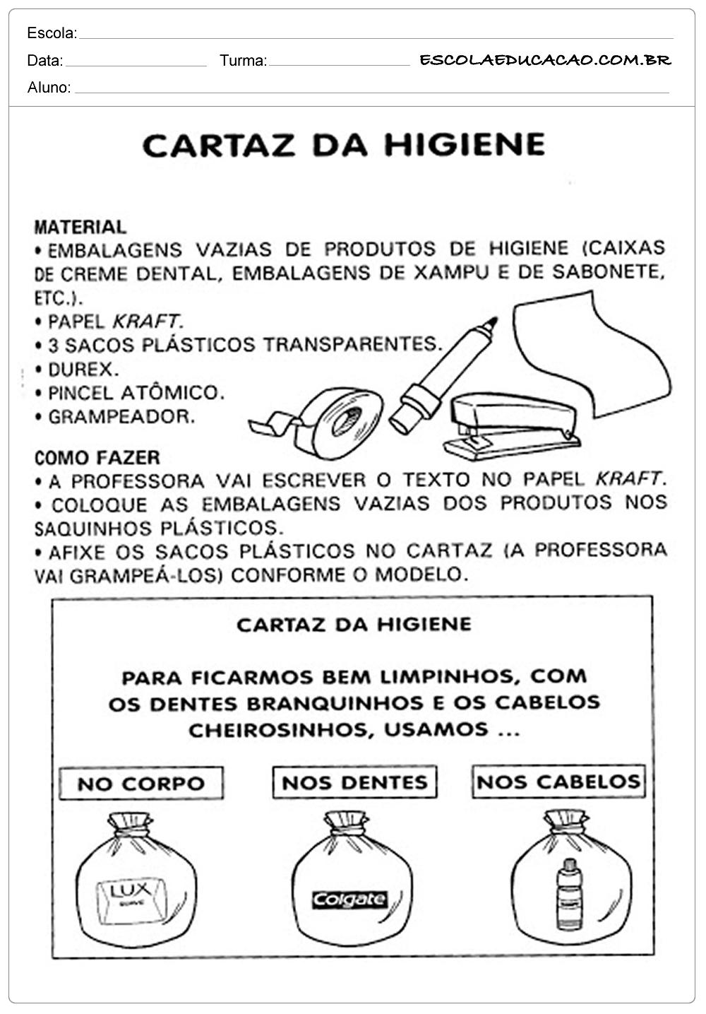 Atividades Higiene Corporal – Cartaz da Higiene