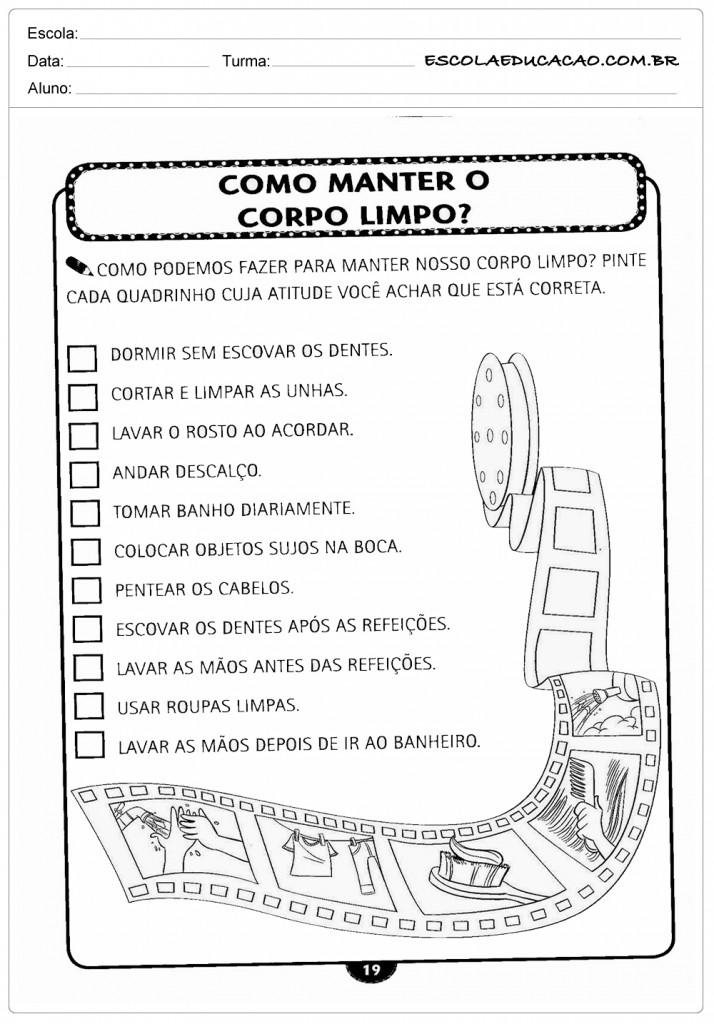 Preferência 20 Atividades sobre higiene e Hábitos - Inéditas - Para Imprimir CM87