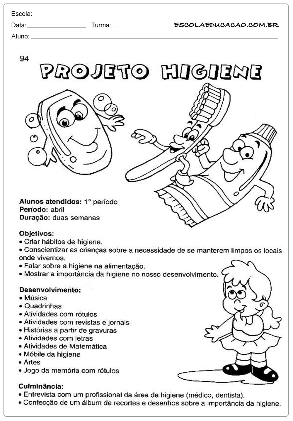 Atividades Higiene Corporal – Projeto Higiene