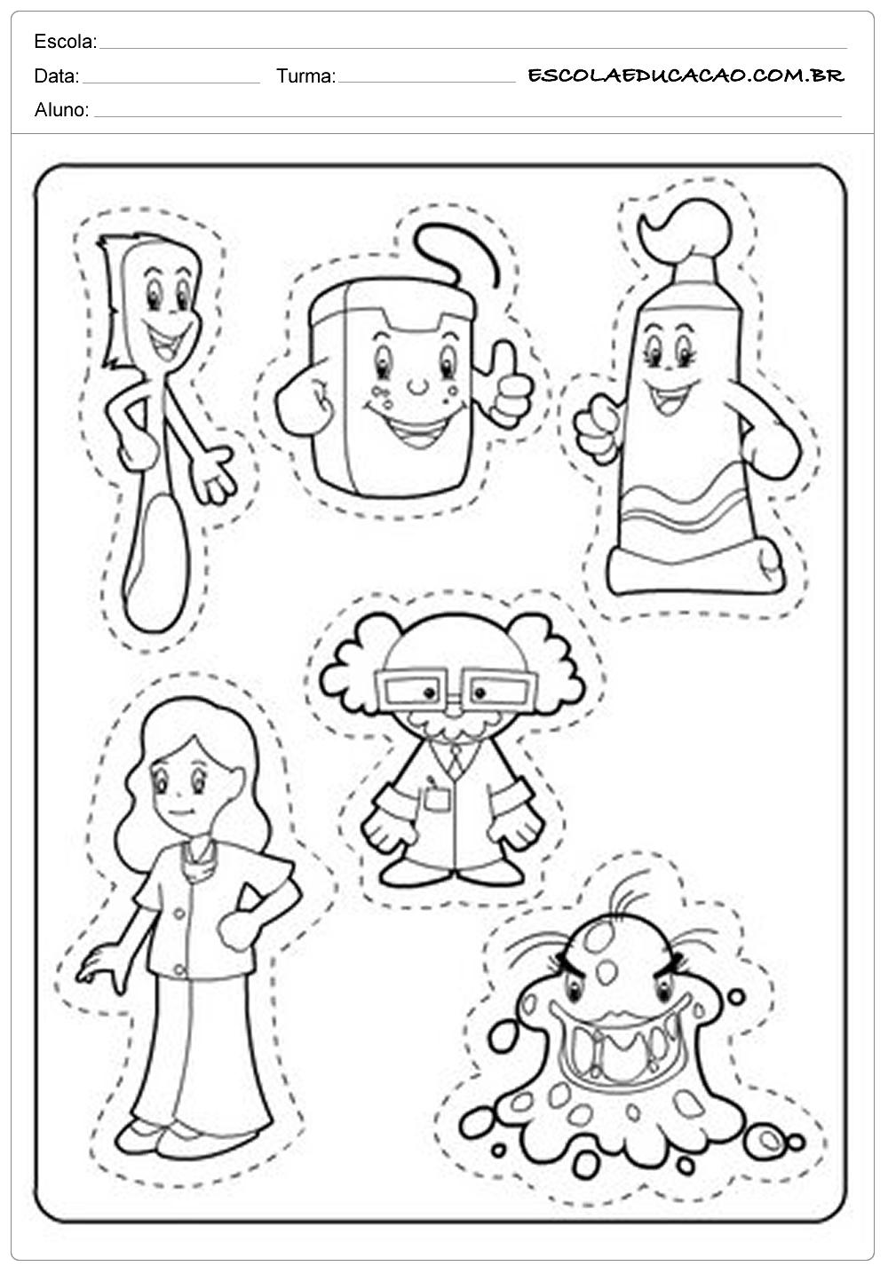 Atividades Higiene Corporal – Recorte e Cole