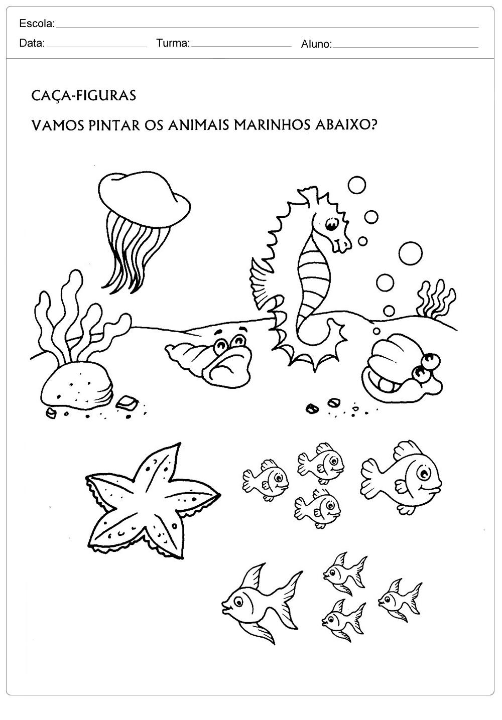 Atividades sobre meio ambiente para educação infantil – Animais marinhos