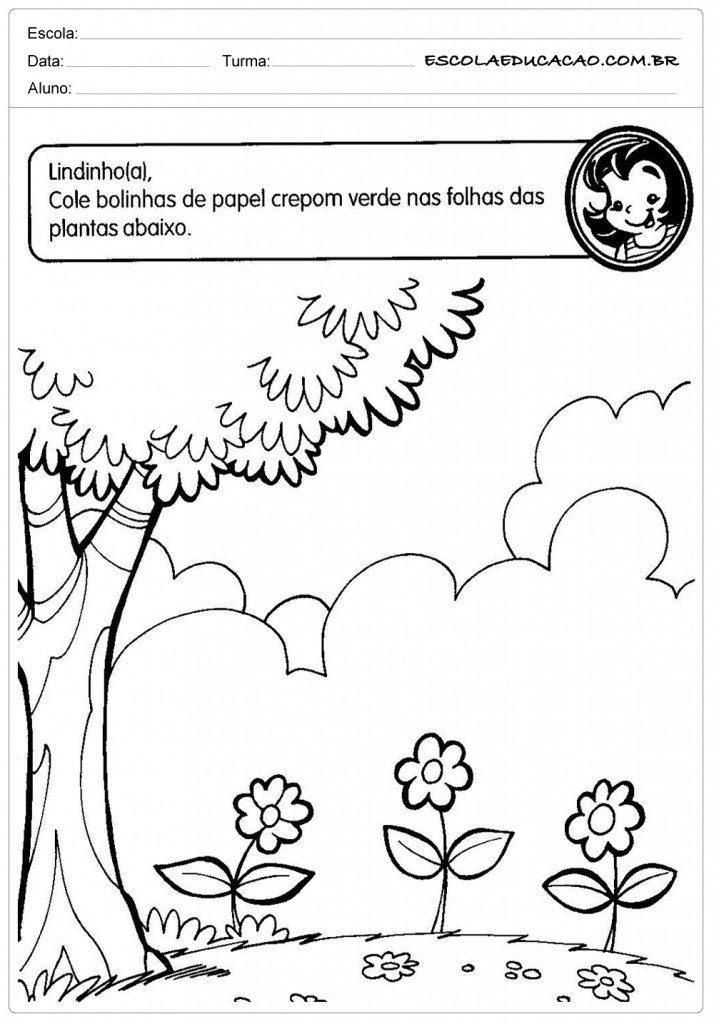 Atividades sobre meio ambiente para educação infantil - Cole as bolinhas
