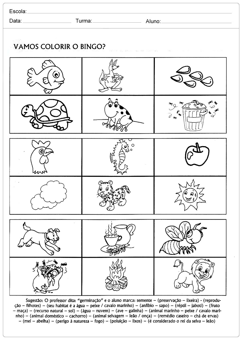 Atividades sobre meio ambiente para educação infantil – Bingo