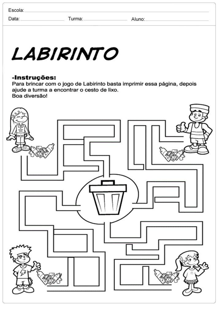 Atividades sobre meio ambiente para educação infantil - Labirinto