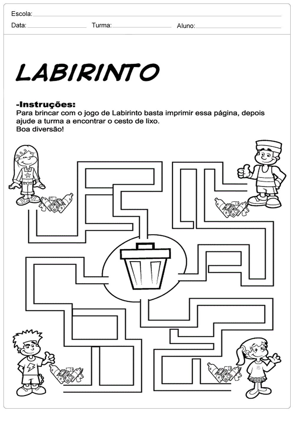 Atividades sobre meio ambiente para educação infantil – Labirinto