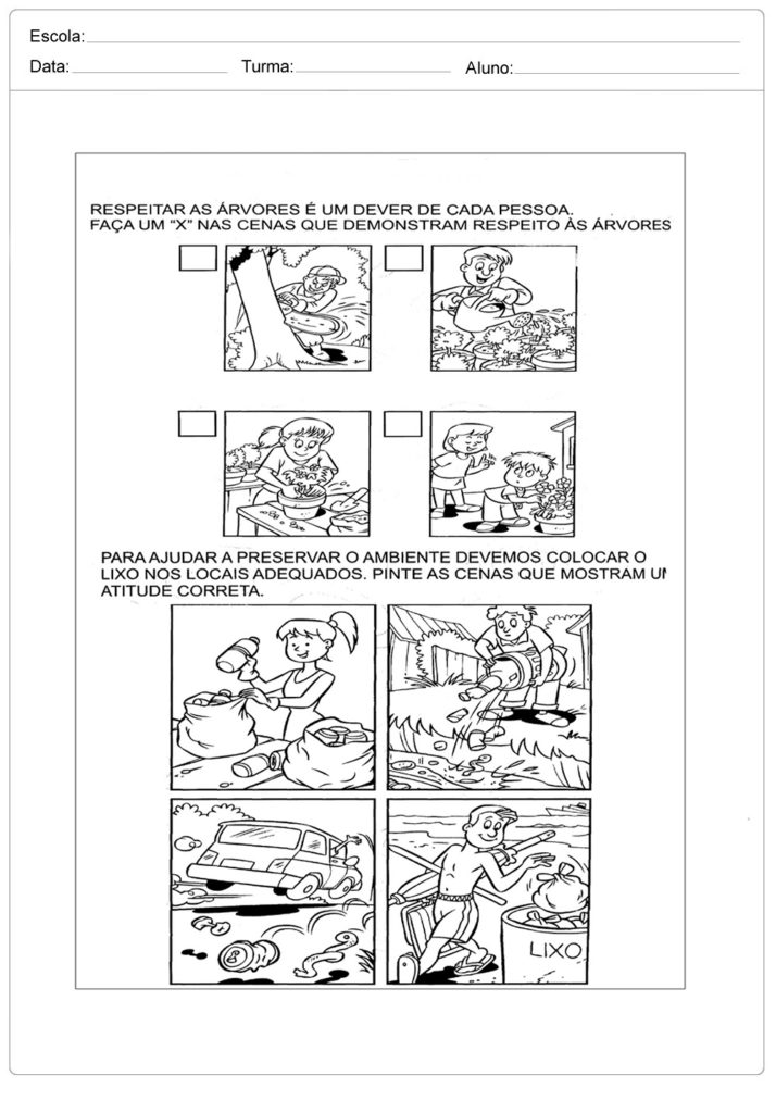 Atividades sobre meio ambiente para educação infantil - Marque um X nas respostas corretas