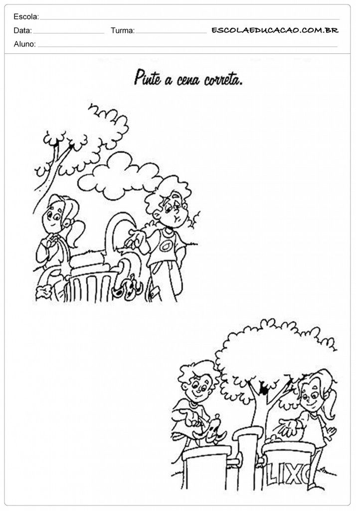 Atividades sobre meio ambiente para educação infantil - Pinte a correta
