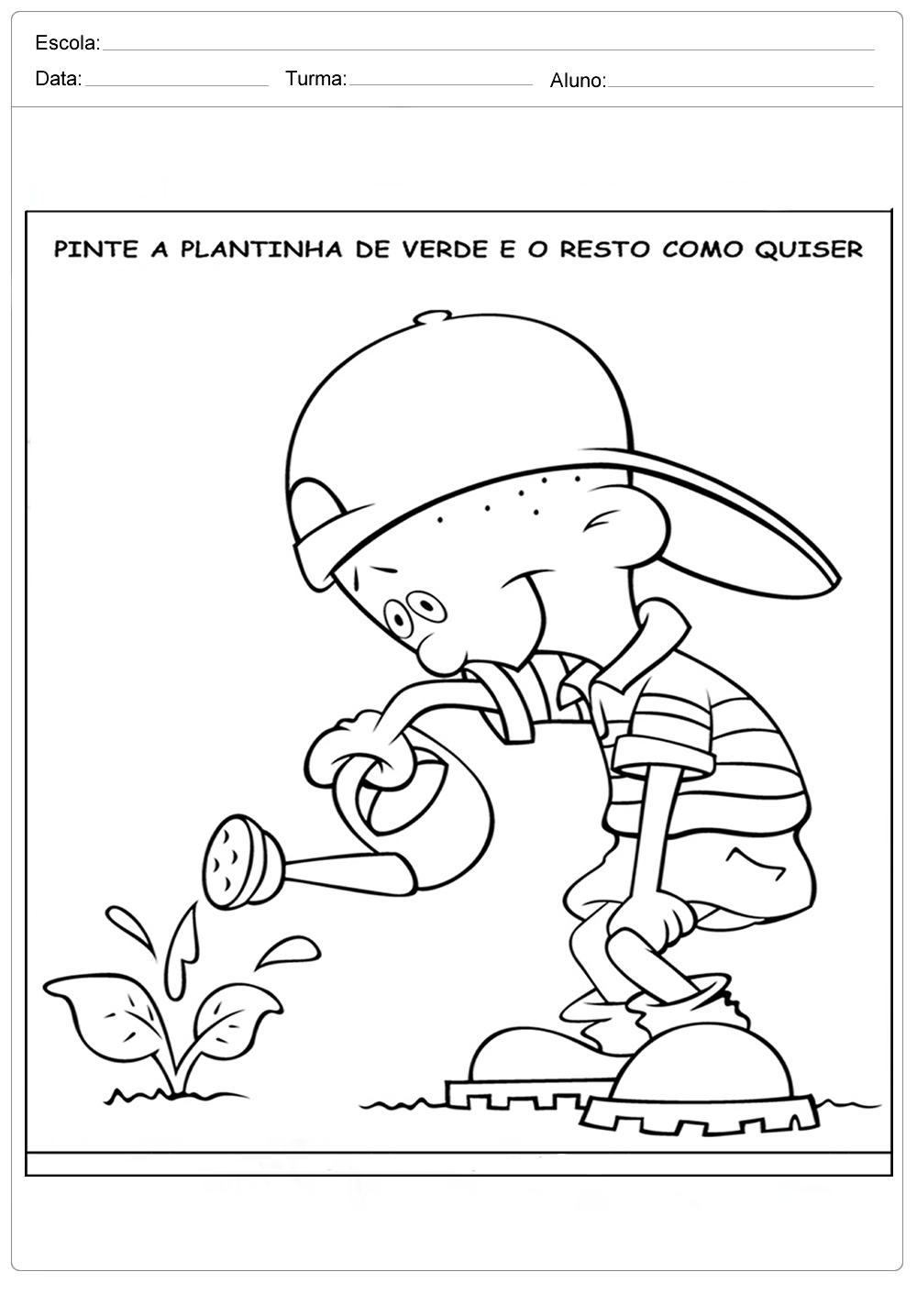 Atividades sobre meio ambiente para educação infantil – Pinte a plantinha