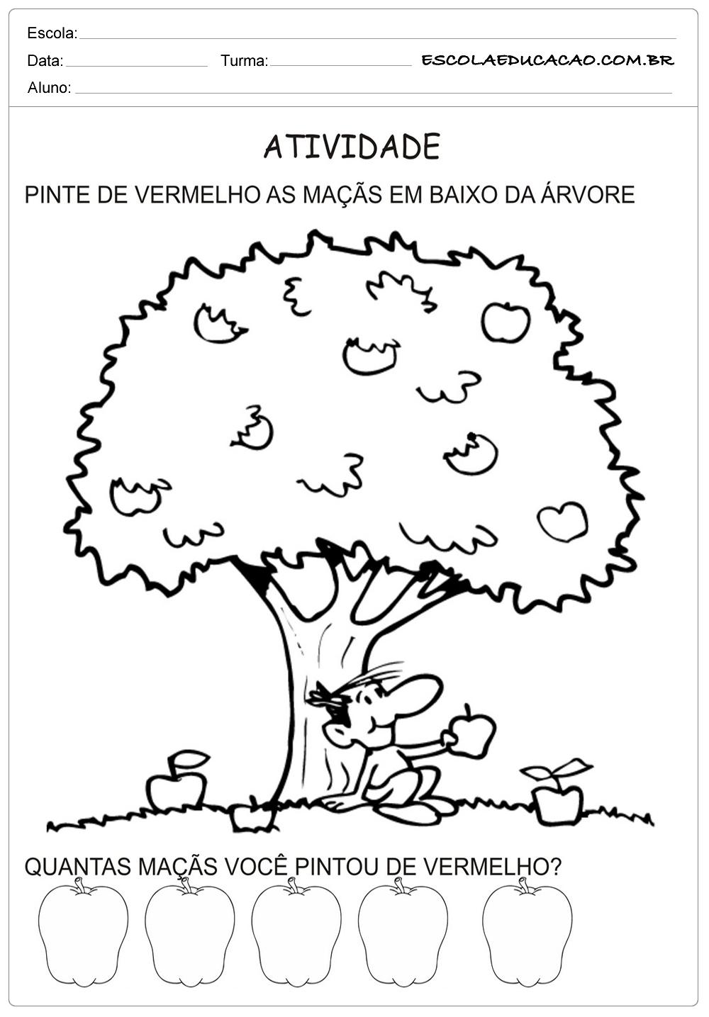 Atividades Meio Ambiente Educação Infantil – Pinte as Maças