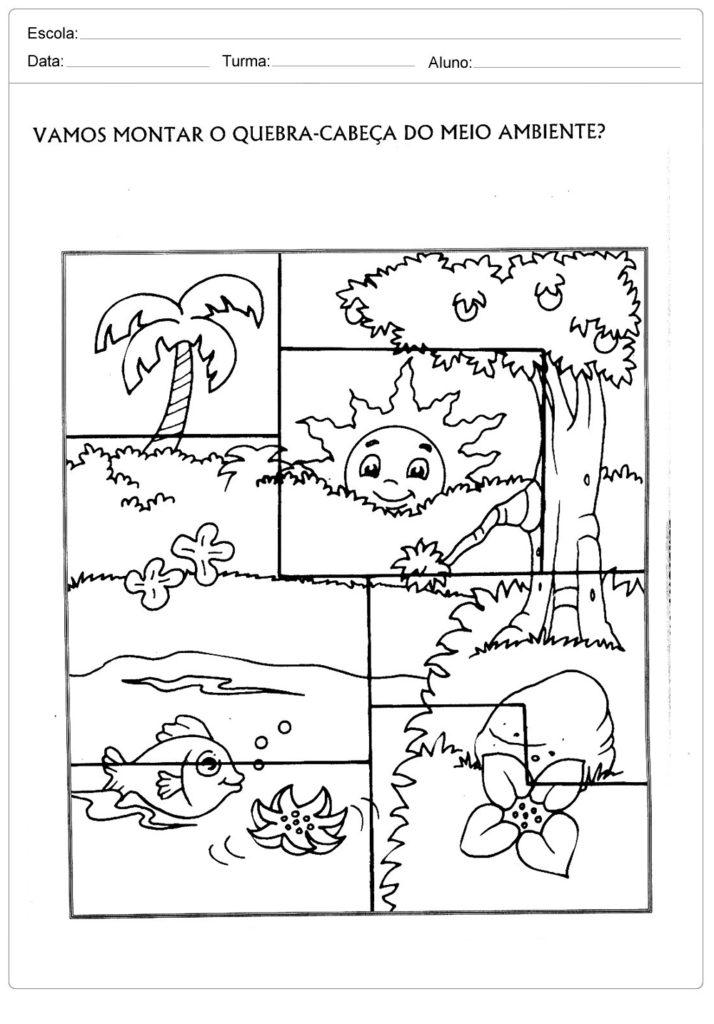 Atividades sobre meio ambiente para educação infantil - Quebra cabeça