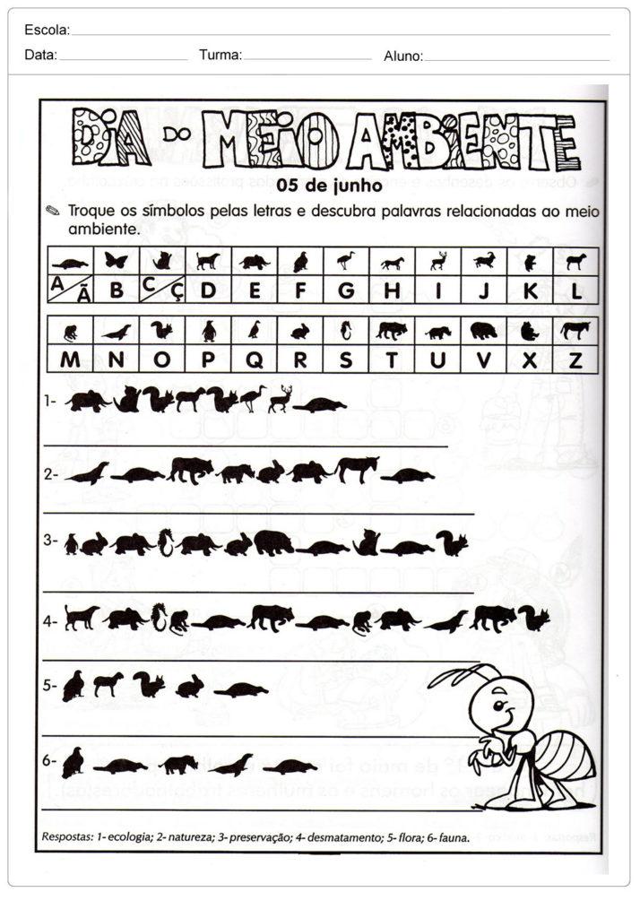Atividades sobre meio ambiente para educação infantil - Troque os símbolos