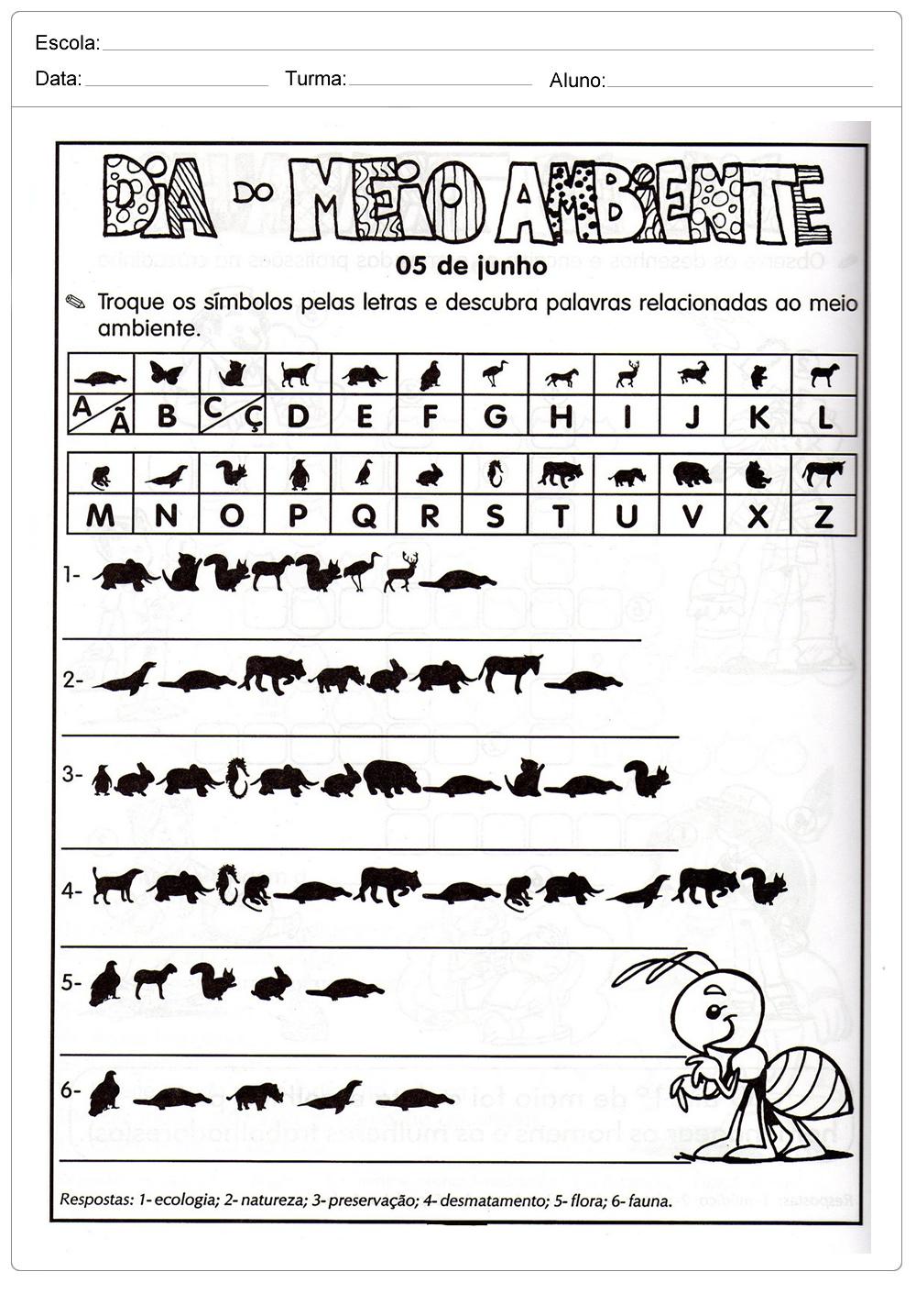 Atividades sobre meio ambiente para educação infantil – Troque os símbolos