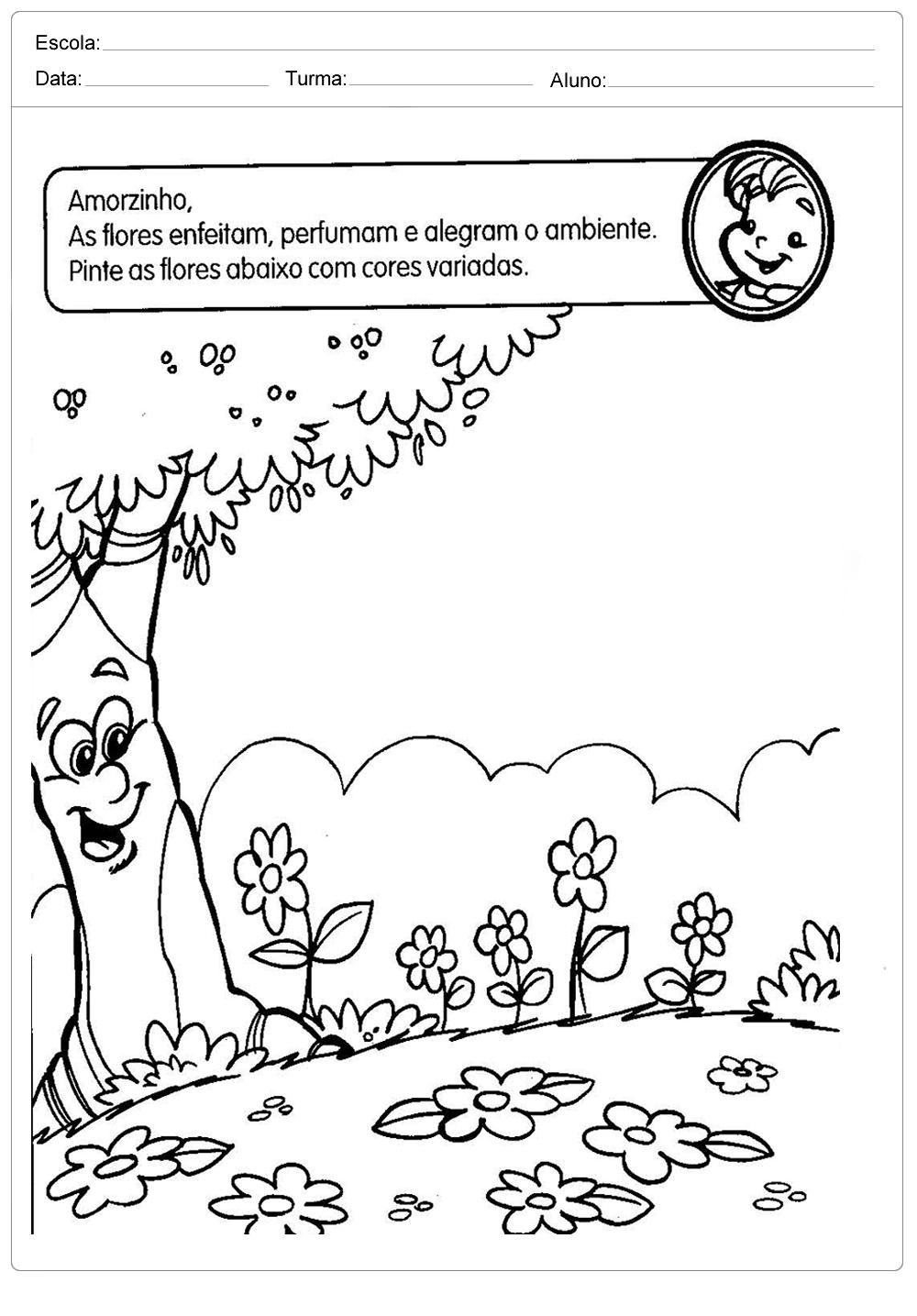 Atividades sobre meio ambiente para educação infantil – Pinte as flores