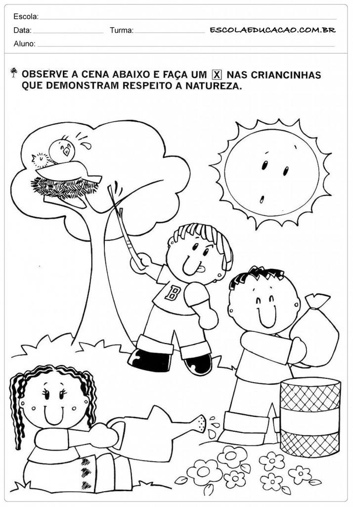 Atividades sobre meio ambiente para educação infantil – Observe e marque corretamente