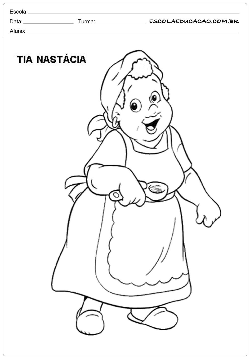Atividade Monteiro – Colorir – Tia Nastácia