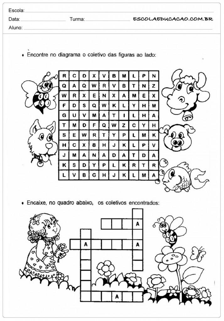Atividades sobre Coletivos - Encontre no Diagrama
