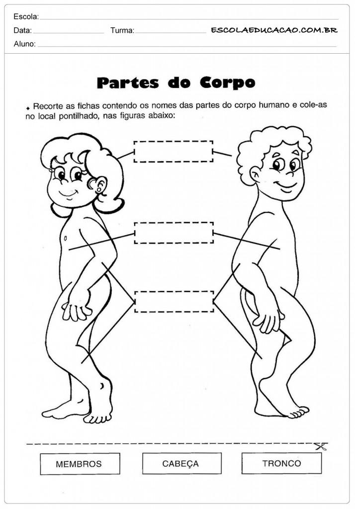 Atividades sobre o corpo - Complete