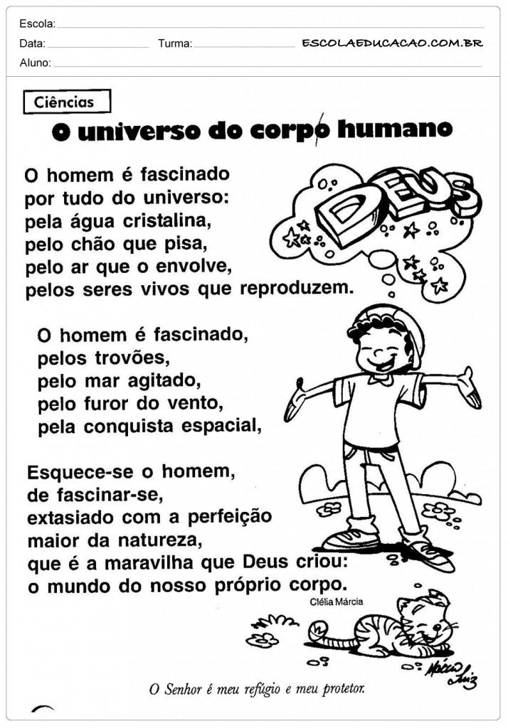 Atividades sobre o corpo - O Universo do Corpo Humano
