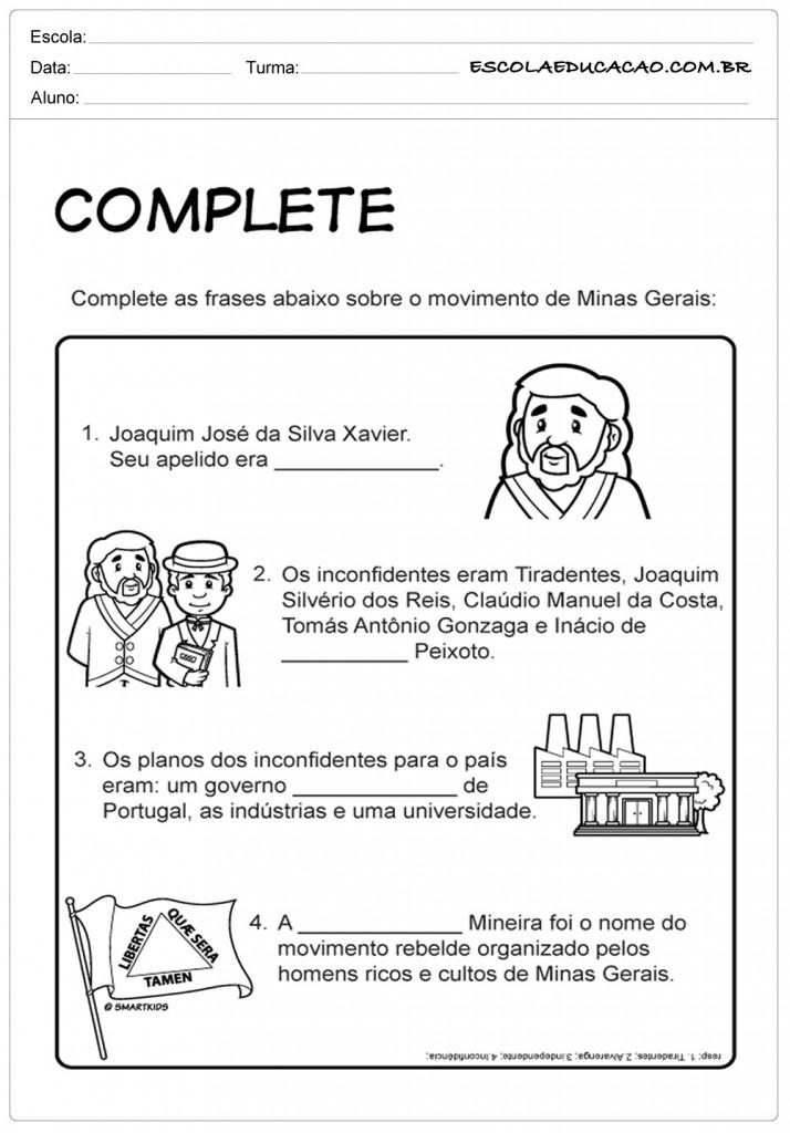 Atividades sobre Tiradentes - Complete