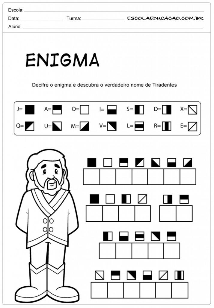 Atividades sobre Tiradentes - Enigma