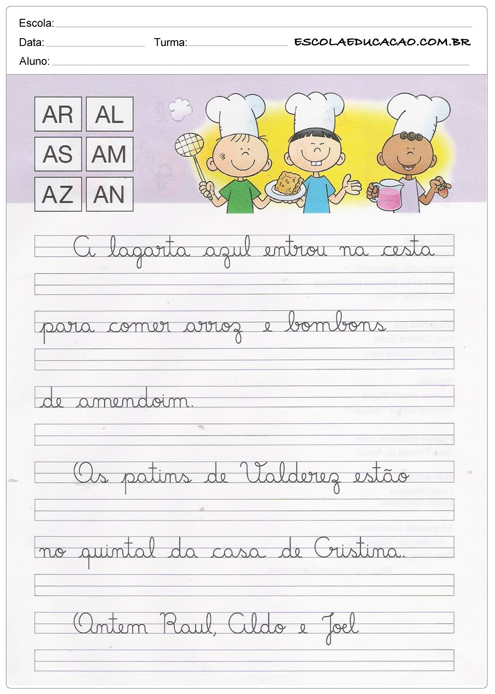 Caderno de Caligrafia – AR, AL, AS, AM, AZ e AN