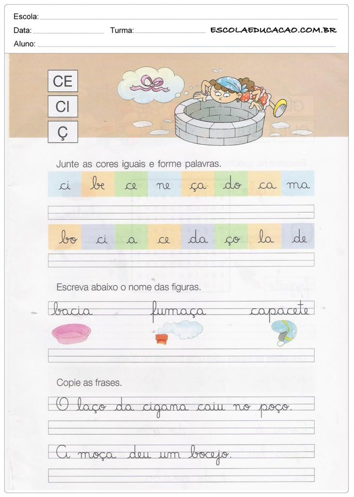Caderno de Caligrafia - CE, CI e Ç