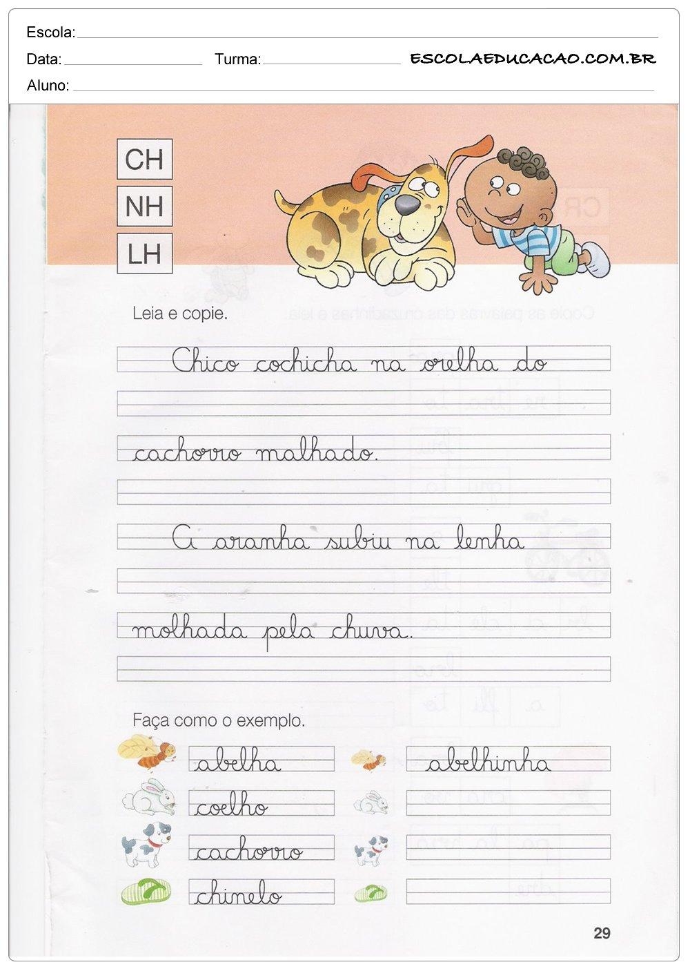 Caderno de Caligrafia – CH, NH e LH