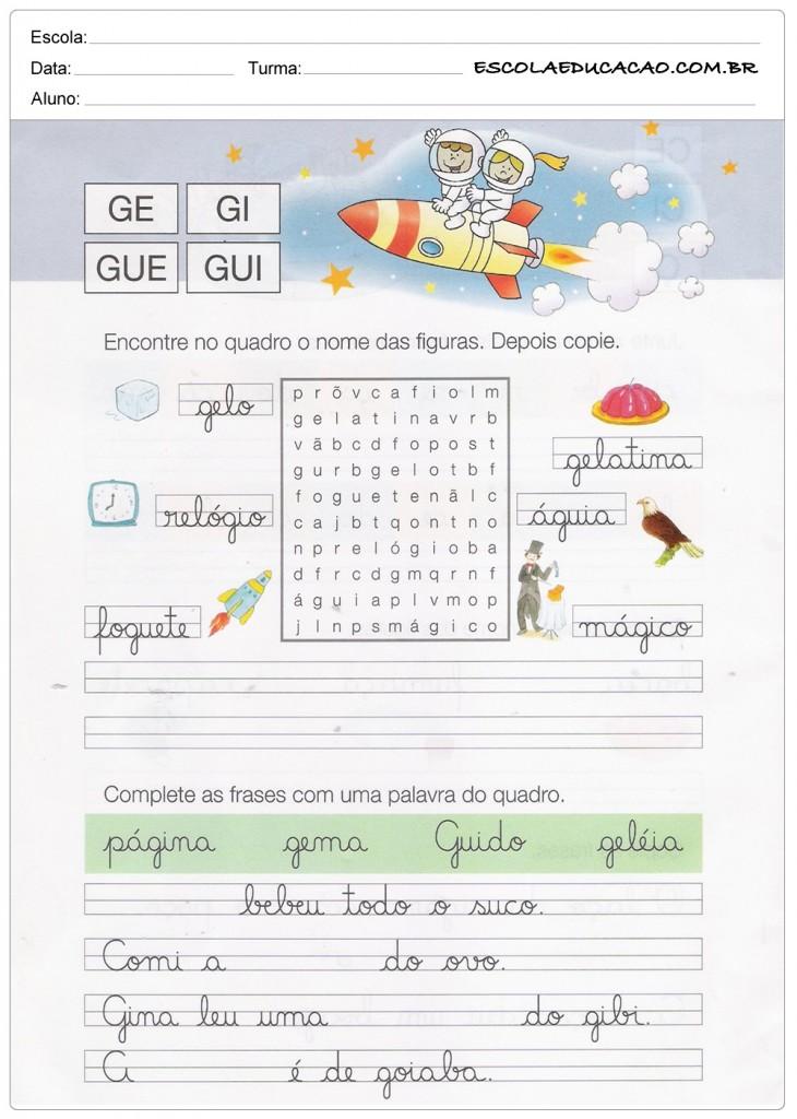 Caderno de Caligrafia - GE, GI, GUE e GUI