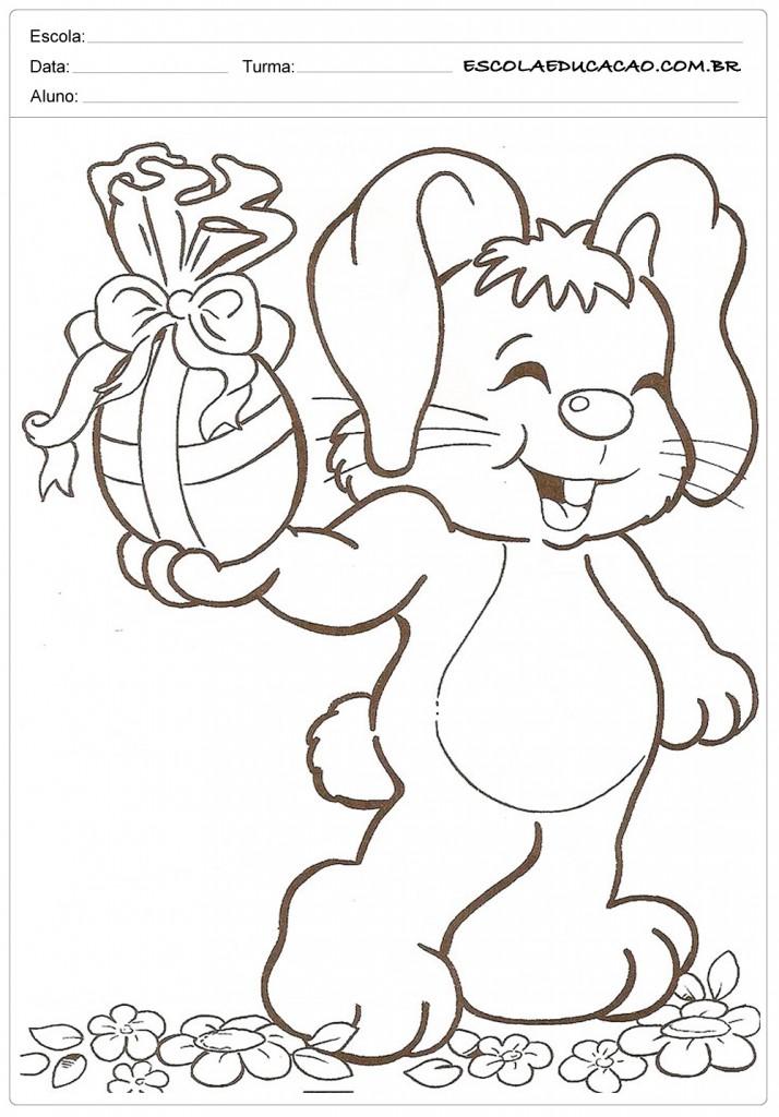 Desenhos da Páscoa para Colorir - Coelho da Páscoa