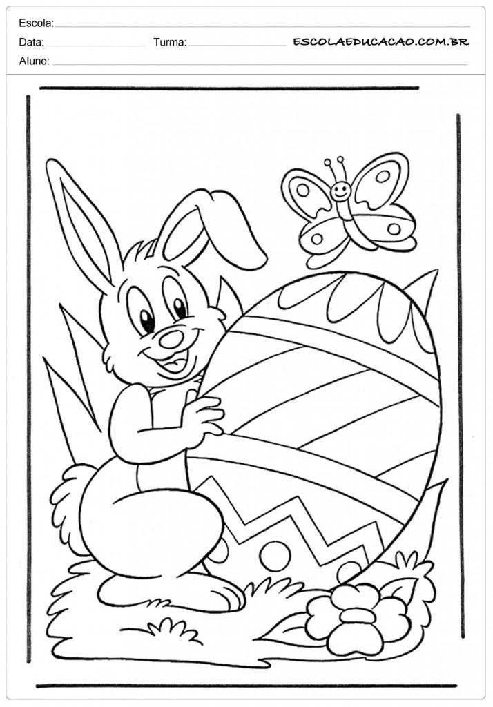 Desenhos da Páscoa para Colorir - Coelho e Borboleta
