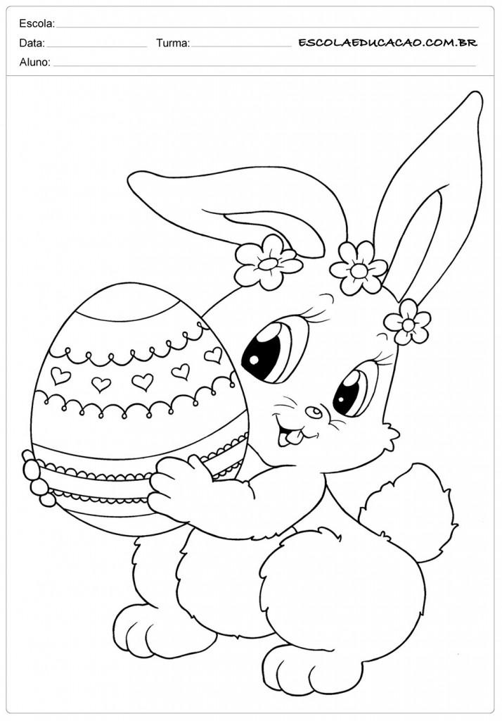 Desenhos da Páscoa para Colorir - Coelhinha