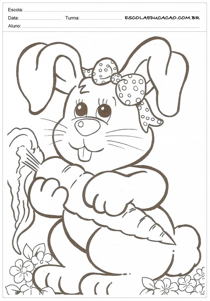 Desenhos da Páscoa para Colorir - Coelhinha e Cenoura