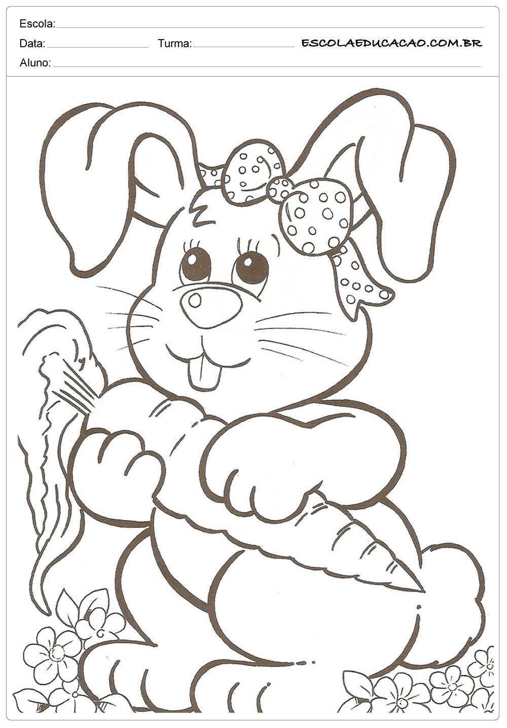 Desenhos da Páscoa para Colorir – Coelhinha e Cenoura