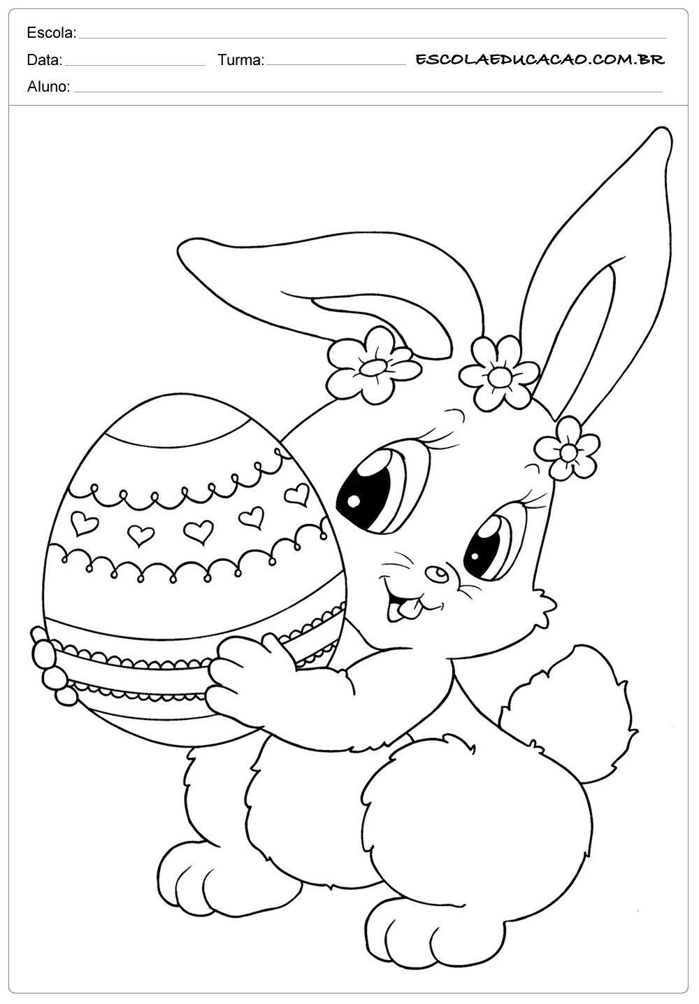 Desenhos Da Pascoa Para Colorir Coelhinha E Cenoura Escola