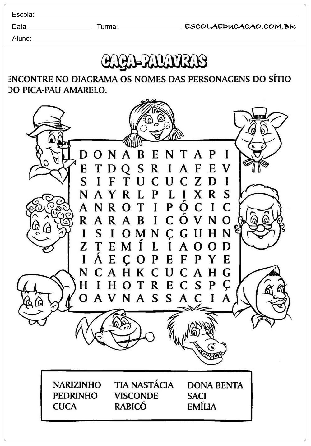 Dia do Livro - Monteiro Lobato - Caça Palavras - Escola Educação