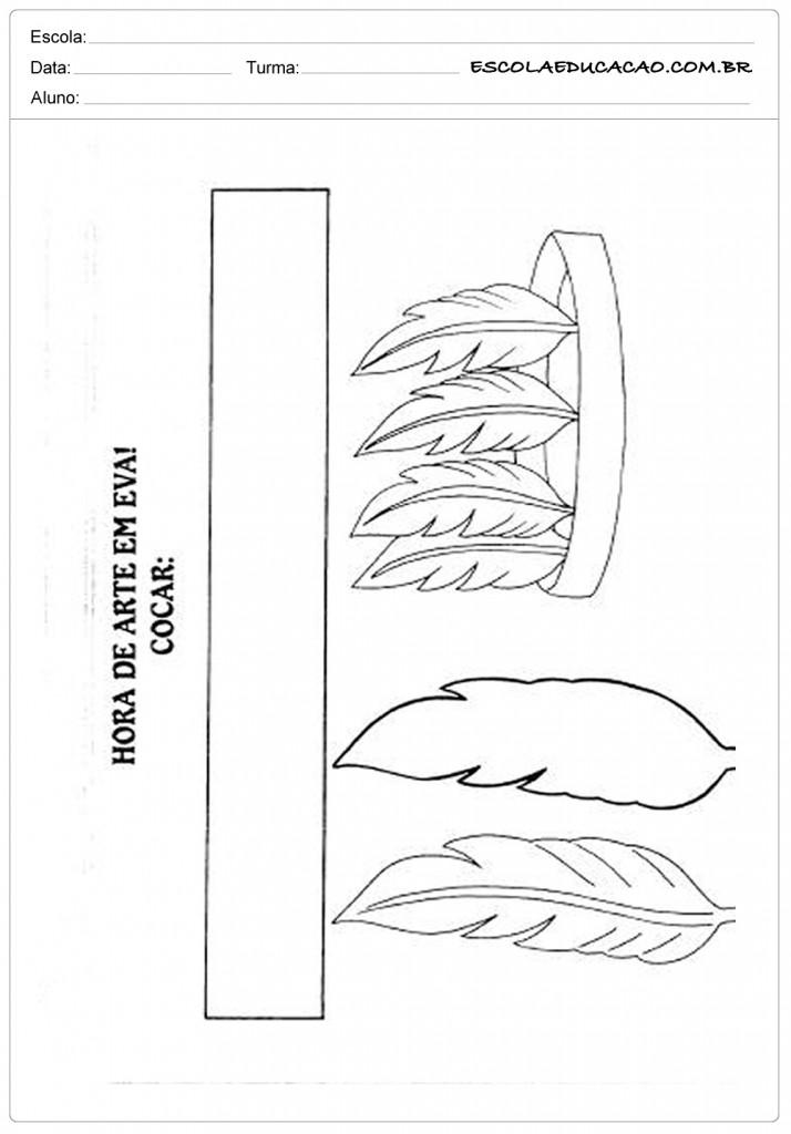 Molde de Cocar de Indio - Recorte e Cole